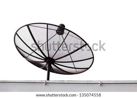 standard satellite on white background - stock photo