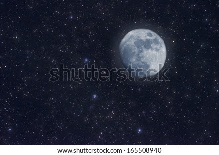Starry Sky and moon - stock photo