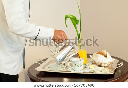 5 stars Room service at hotel room - stock photo