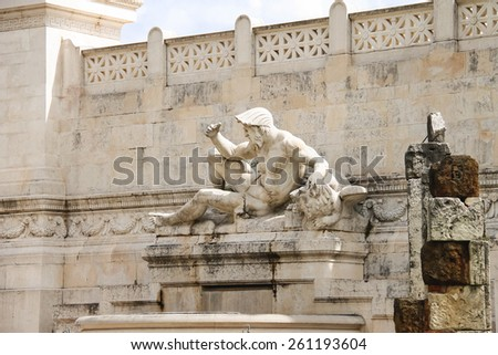 Statue in a monument to Victor Emmanuel II. Piazza Venezia, Rome , Italy - stock photo