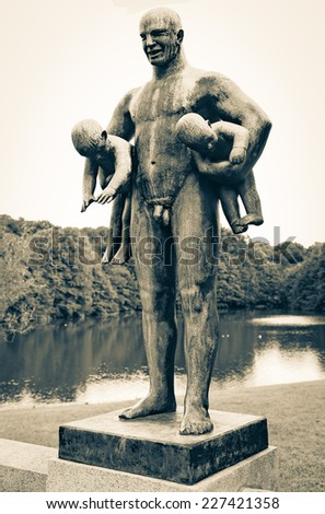 Statues in Vigeland park at Oslo, Norway - stock photo