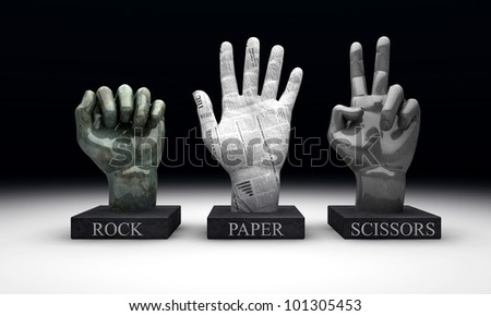 3 statuettes showing the hand-game rochambeau, made out of the hand gestures corresponding to the materials of rock, paper and scissors