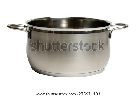 steel cooking pot isolated on white