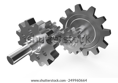 steel gearwheels isolated on white background