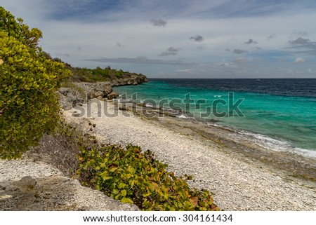 1000 steps dive siteViews around Bonaire a small island in the Caribbean - stock photo