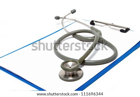 stethoscope rest on clipboard  on white background - stock photo