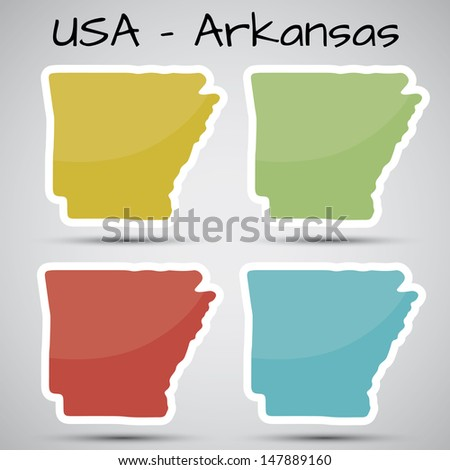 stickers in form of Arkansas state, USA - stock photo