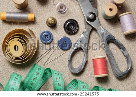 """Still Life"" of sewing supplies - stock photo"