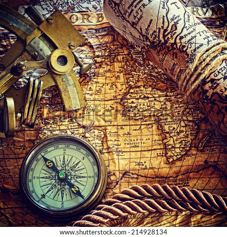 still life with compass,and old map.map  Author: Abraham Ortelius (1527-1598)  instagram  effect  - stock photo
