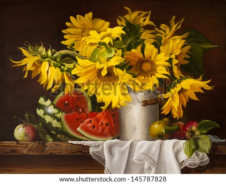 still life with sunflowers and watermelon - stock photo