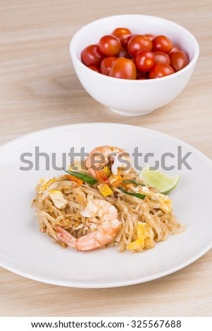 Stir-fried rice noodles with shrimp (Pad Thai),Thai food - stock photo