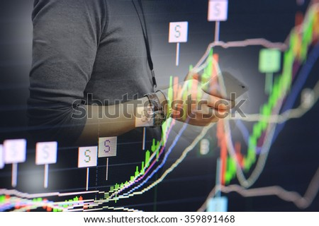 stock chart and phone