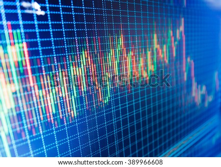 Stock market quotes on display. Data on live computer screen. Stock market graph on the screen. Online forex data. Display of quotes pricing graph visualization. Price chart bars.  - stock photo