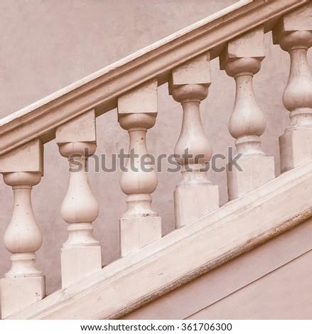 Stone baroque balaustrade as a staircase handrail vintage - stock photo