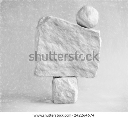 3 stone formation  - illustration based on own photo image - stock photo