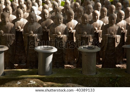 1001 stone monks statues from Hasedera in Kamakura, Japan - stock photo