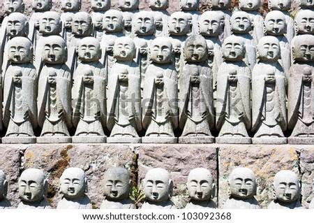 1001 stone monks statues from Hasedera in Kamakura, Japan. Apr 9 - stock photo