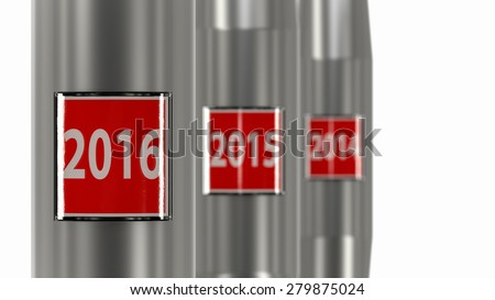 2015 stop button. Conceptual image for the new year