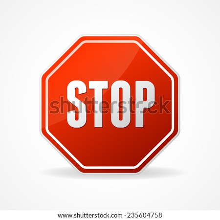 Stop Sign Red isolated on white background - stock photo