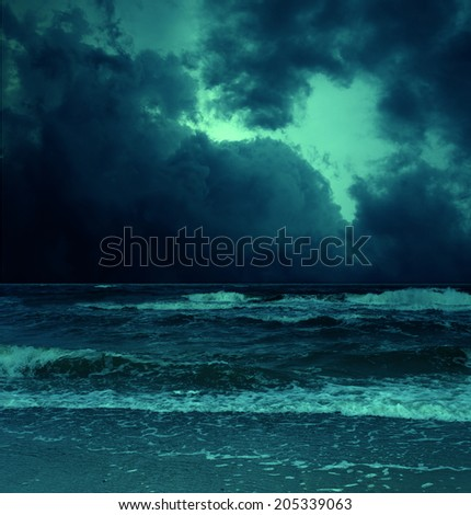 storm on sea with dangerus clouds