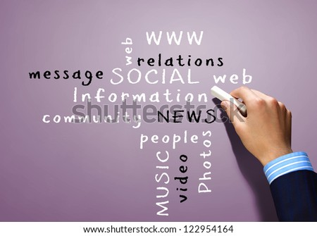 'Strategy' concept with many other related words - stock photo