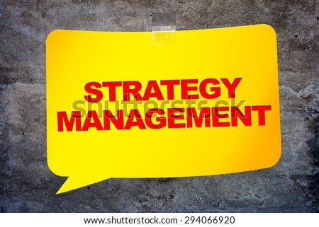 """""""Strategy management"""" in the yellow banner textural background. Design template. - stock photo"""