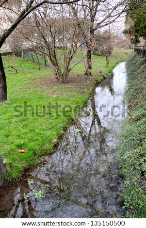 Stream and green meadow - stock photo