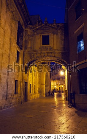 street in historical speak rapidly the cities of Valencia at night, Spain - stock photo