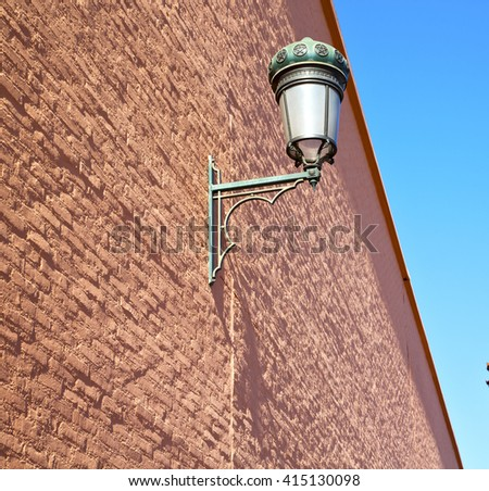 street lamp in morocco africa old lantern   the outdoors and decoration  brick - stock photo