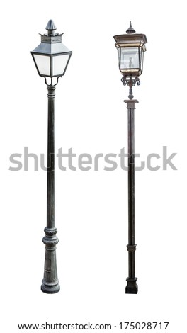 Street lamps isolated on white background