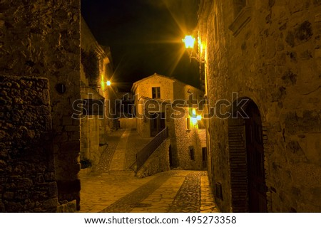 Street of the pretty medieval village . Pals, located on the coast  Brava.Catalonia.Spain