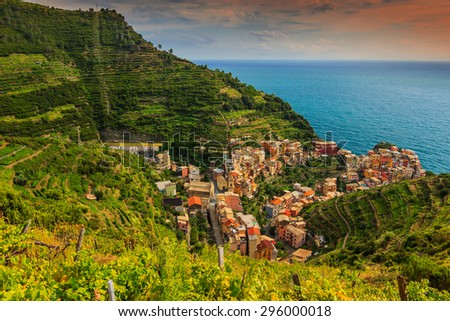 Stunning vineyard valley,with colorful sunset and beautiful riviera of Cinque Terre,Manarola town,Italy,Europe - stock photo