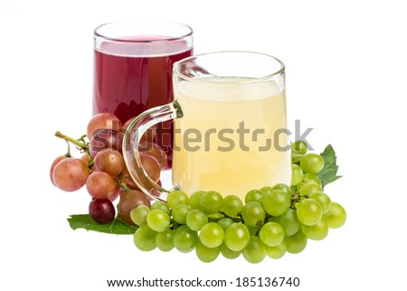 """""""Sturm"""": Red and white wine decorated with grapes - stock photo"""