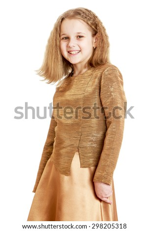 Stylish blonde girl in a glittering costume, close-up-isolated on white background - stock photo