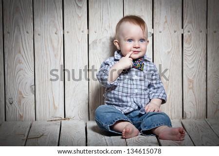 stylish kid  in bow tie - stock photo