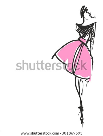 stylish  original hand-drawn graphics with beautiful young attractive girl model for design. Fashion, style,  beauty, advertising. Graphic, sketch drawing. Sexy woman