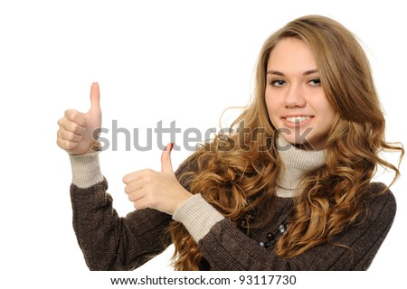 Success girl exposing greater fingers, on a white background. - stock photo