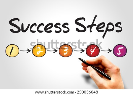 5 Success Steps, sketch business concept - stock photo