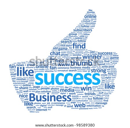 Success thumb up hand sign is made of various single words. Isolated on white.