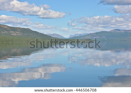 Summer landscape of the Northern lakes on the Putorana plateau in Russia. - stock photo