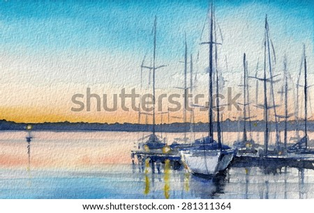 Summer landscape with sailing boats in bay. Picture created with watercolors. - stock photo