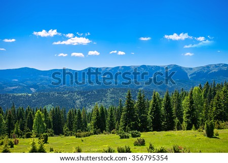 Summer mountain landscape with clouds. Carpathian mountains. - stock photo