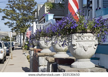 """Summer Neighborhood"" Summer planters along this quiet street in Sea Bright, New Jersey."