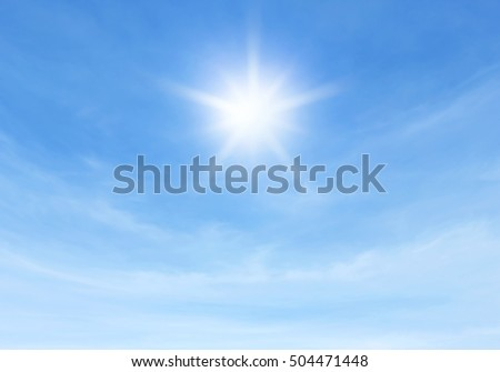 sun and blue sky for background textured