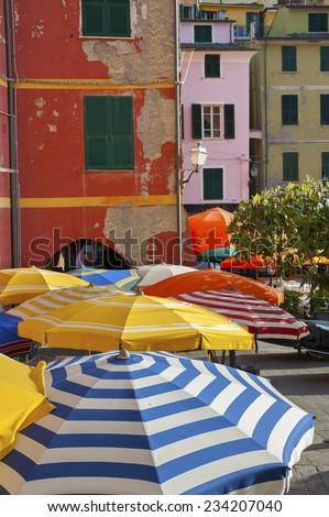 Sun Umbrella in Vernazza, Cinque Terre, Italy  - stock photo