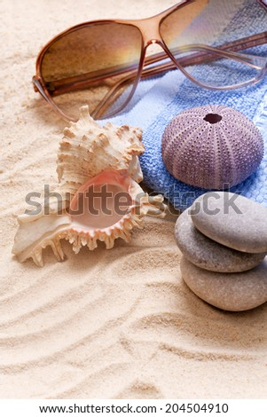 sunglasses sandy beach - stock photo