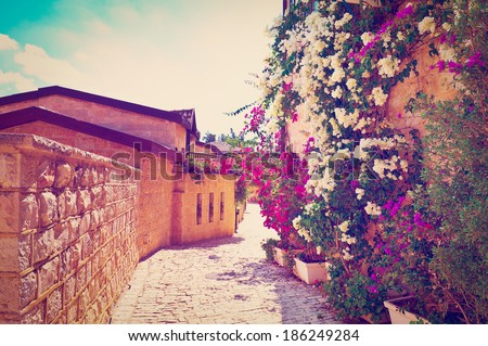 Sunny Day in the Old Restored Jerusalem, Instagram Effect  - stock photo