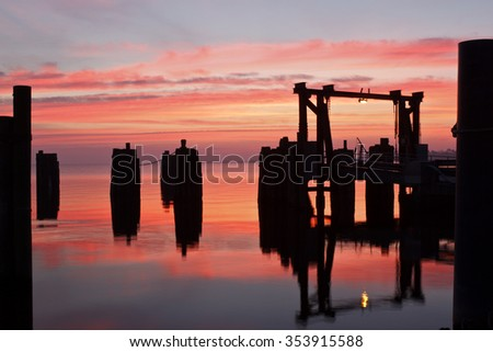 Sunrise at Knott's Island Ferry in Currituck County