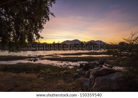 Sunrise in Africa Tanzania - stock photo