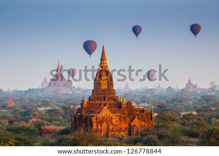 Sunrise over temples of Bagan in Myanmar - stock photo